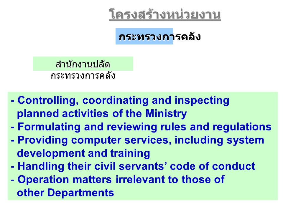 6 - Controlling, coordinating and inspecting planned activities of the Ministry - Formulating and reviewing rules and regulations - Providing computer services, including system development and training - Handling their civil servants' code of conduct - Operation matters irrelevant to those of other Departmentsโครงสร้างหน่วยงานกระทรวงการคลัง สำนักงานปลัด กระทรวงการคลัง