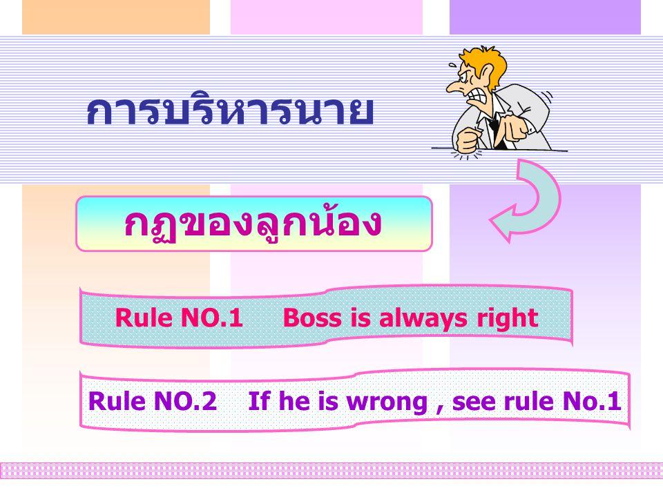 9 การบริหารนาย กฏของลูกน้อง Rule NO.1 Boss is always right Rule NO.2 If he is wrong, see rule No.1