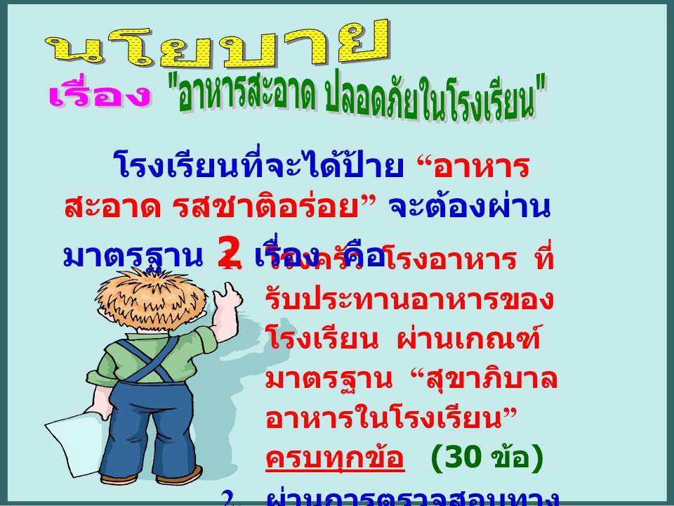 """1. โรงครัว โรงอาหาร ที่ รับประทานอาหารของ โรงเรียน ผ่านเกณฑ์ มาตรฐาน """" สุขาภิบาล อาหารในโรงเรียน """" ครบทุกข้อ (30 ข้อ ) 2. ผ่านการตรวจสอบทาง ห้องปฏิบัต"""