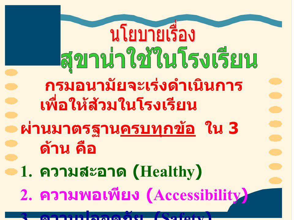กรมอนามัยจะเร่งดำเนินการ เพื่อให้ส้วมในโรงเรียน ผ่านมาตรฐานครบทุกข้อ ใน 3 ด้าน คือ 1. ความสะอาด (Healthy) 2. ความพอเพียง (Accessibility) 3. ความปลอดภั