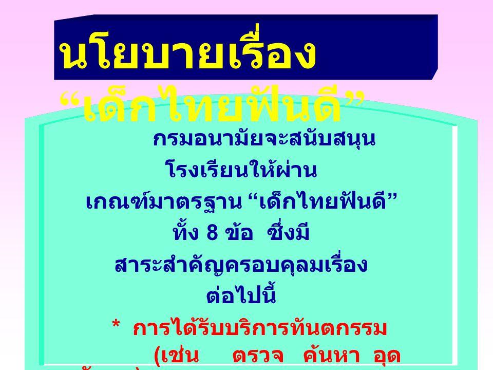ความสำเร็จของ 3 เรื่องดังกล่าว ขึ้นอยู่กับ เด็กไทยทำได้ นักเรียนแกนนำใน โรงเรียนทำกิจกรรมภายใต้ ชมรมเด็กไทยทำได้ ผู้ปกครองให้การสนับสนุน และ โรงเรียนเห็นความสำคัญ
