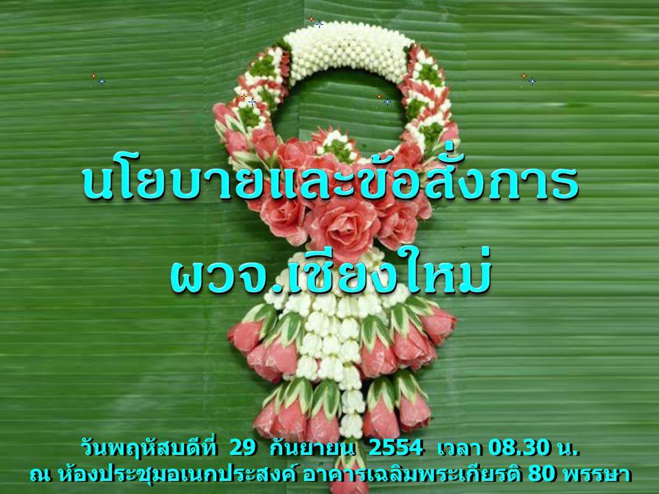 วันพฤหัสบดีที่ 29 กันยายน 2554 เวลา 08.30 น. ณ ห้องประชุมอเนกประสงค์ อาคารเฉลิมพระเกียรติ 80 พรรษา