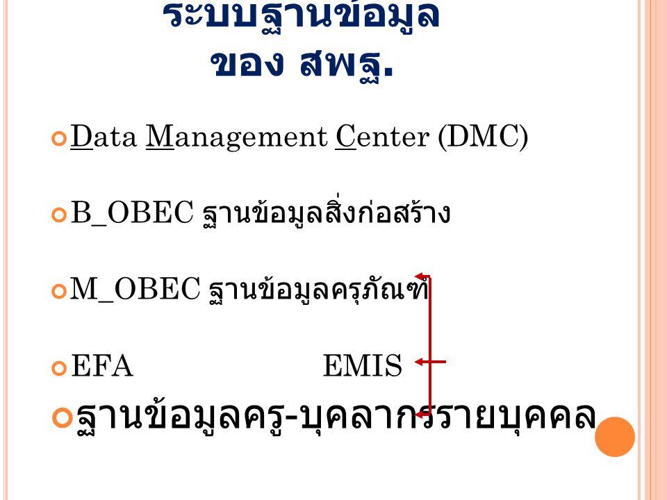 DMC EMIS B_OBEC Data Warehouse GIS School Mapping ฐานข้อมูลผู้จบ กศ.