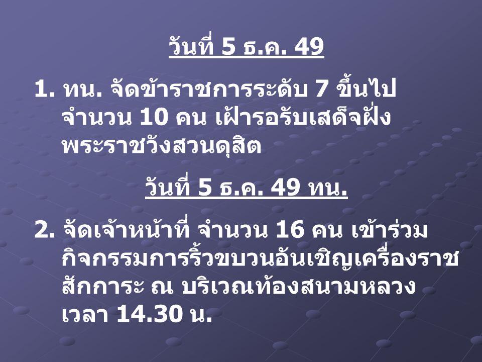 วันที่ 5 ธ.ค. 49 1. ทน. จัดข้าราชการระดับ 7 ขึ้นไป จำนวน 10 คน เฝ้ารอรับเสด็จฝั่ง พระราชวังสวนดุสิต วันที่ 5 ธ.ค. 49 ทน. 2. จัดเจ้าหน้าที่ จำนวน 16 คน