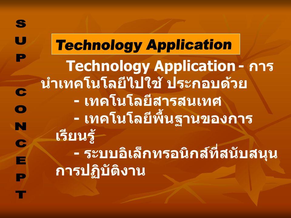 Technology Application - การ นำเทคโนโลยีไปใช้ ประกอบด้วย - เทคโนโลยีสารสนเทศ - เทคโนโลยีพื้นฐานของการ เรียนรู้ - ระบบอิเล็กทรอนิกส์ที่สนับสนุน การปฏิบ