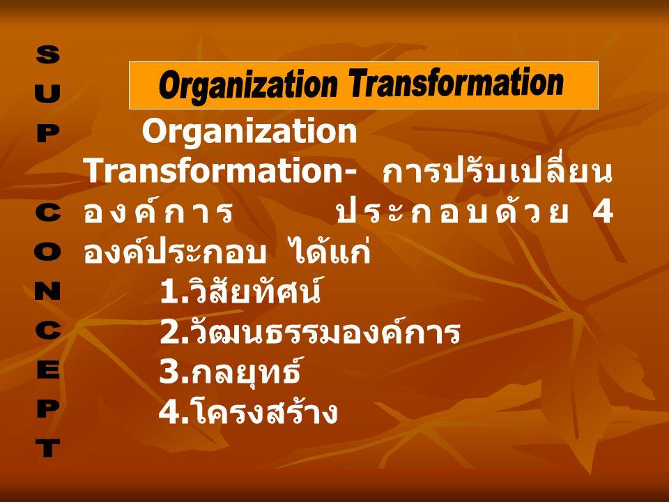 Organization Transformation- การปรับเปลี่ยน องค์การ ประกอบด้วย 4 องค์ประกอบ ได้แก่ 1. วิสัยทัศน์ 2. วัฒนธรรมองค์การ 3. กลยุทธ์ 4. โครงสร้าง