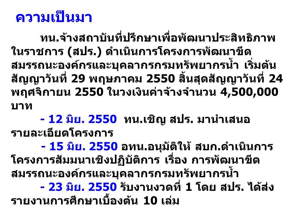 ทน.จ้างสถาบันที่ปรึกษาเพื่อพัฒนาประสิทธิภาพ ในราชการ (สปร.) ดำเนินการโครงการพัฒนาขีด สมรรถนะองค์กรและบุคลากรกรมทรัพยากรน้ำ เริ่มต้น สัญญาวันที่ 29 พฤษภาคม 2550 สิ้นสุดสัญญาวันที่ 24 พฤศจิกายน 2550 ในวงเงินค่าจ้างจำนวน 4,500,000 บาท - 12 มิย.