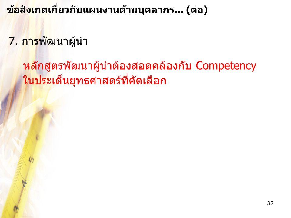 32 7. การพัฒนาผู้นำ หลักสูตรพัฒนาผู้นำต้องสอดคล้องกับ Competency ในประเด็นยุทธศาสตร์ที่คัดเลือก ข้อสังเกตเกี่ยวกับแผนงานด้านบุคลากร... (ต่อ)