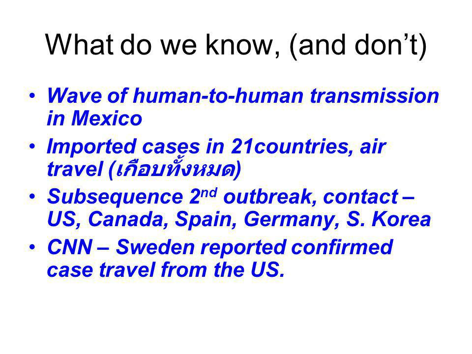 What do we know, (and don't) Wave of human-to-human transmission in Mexico Imported cases in 21countries, air travel ( เกือบทั้งหมด ) Subsequence 2 nd outbreak, contact – US, Canada, Spain, Germany, S.