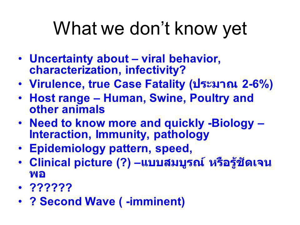 What we don't know yet Uncertainty about – viral behavior, characterization, infectivity.