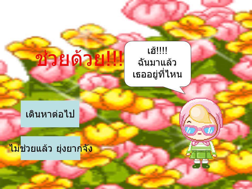 ช่วยด้วย !!!!! เฮ้ !!!! ฉันมาแล้ว เธออยู่ที่ไหน ไม่ช่วยแล้ว ยุ่งยากจัง เดินหาต่อไป