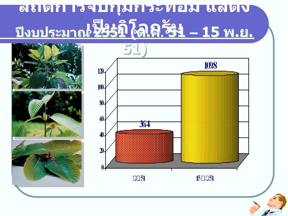 สถิติการจับกุมกระท่อม แสดง เป็นกิโลกรัม ปีงบประมาณ 2551 ( ต. ค. 51 – 15 พ. ย. 51)