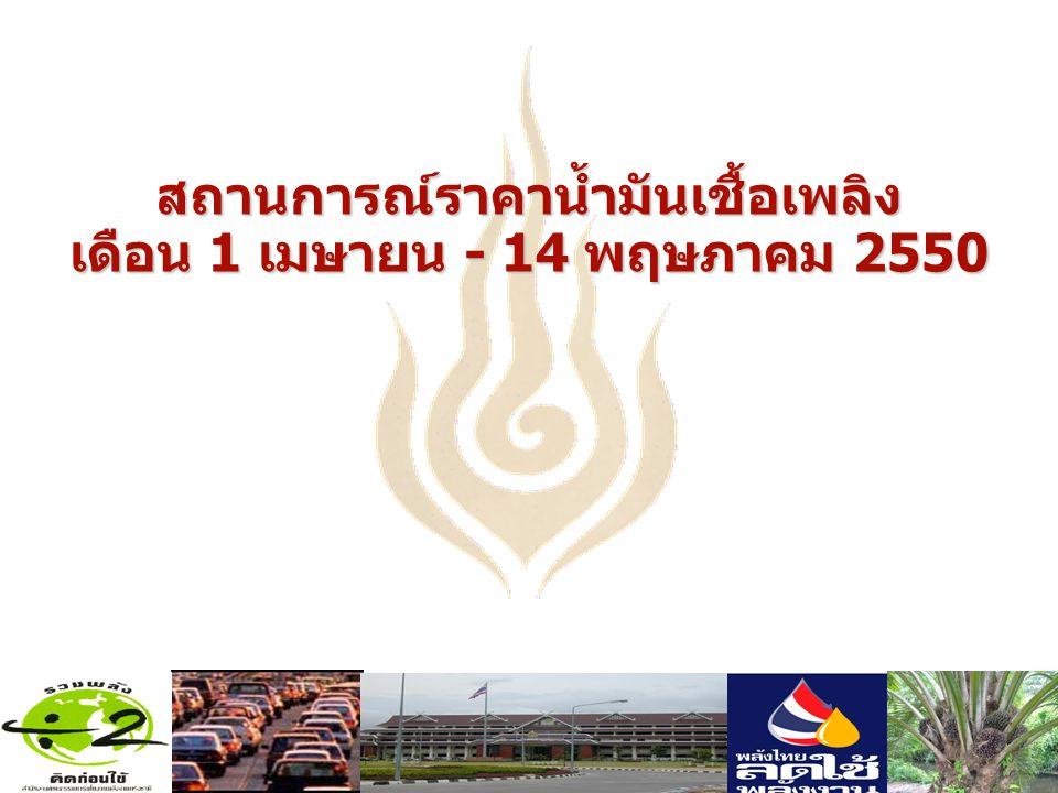 สถานการณ์ราคาน้ำมันเชื้อเพลิง เดือน 1 เมษายน - 14 พฤษภาคม 2550