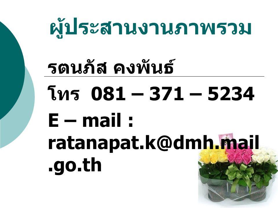 ผู้ประสานงานภาพรวม รตนภัส คงพันธ์ โทร 081 – 371 – 5234 E – mail : ratanapat.k@dmh.mail.go.th