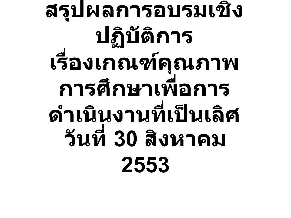 สรุปผลการอบรมเชิง ปฏิบัติการ เรื่องเกณฑ์คุณภาพ การศึกษาเพื่อการ ดำเนินงานที่เป็นเลิศ วันที่ 30 สิงหาคม 2553