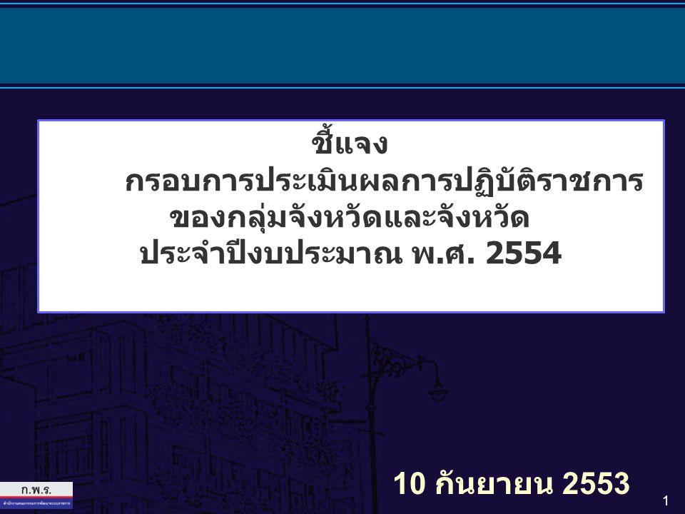 1 ชี้แจง กรอบการประเมินผลการปฏิบัติราชการ ของกลุ่มจังหวัดและจังหวัด ประจำปีงบประมาณ พ.ศ. 2554 10 กันยายน 2553