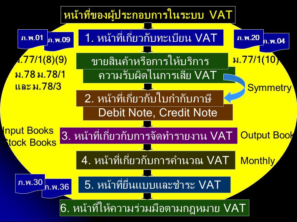 1. หน้าที่เกี่ยวกับทะเบียน VAT ความรับผิดในการเสีย VAT ขายสินค้าหรือการให้บริการ 3. หน้าที่เกี่ยวกับการจัดทำรายงาน VAT 4. หน้าที่เกี่ยวกับการคำนวณ VAT