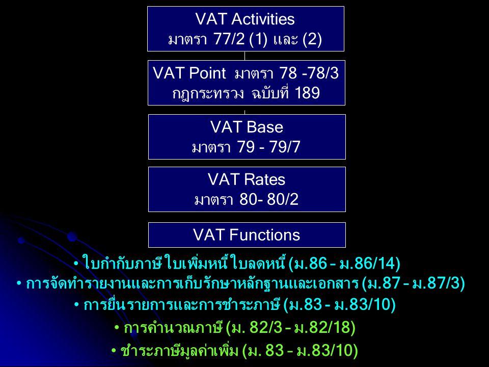 VAT Activities มาตรา 77/2 (1) และ (2) VAT Point มาตรา 78 -78/3 กฎกระทรวง ฉบับที่ 189 VAT Base มาตรา 79 - 79/7 VAT Rates มาตรา 80- 80/2 VAT Functions ก