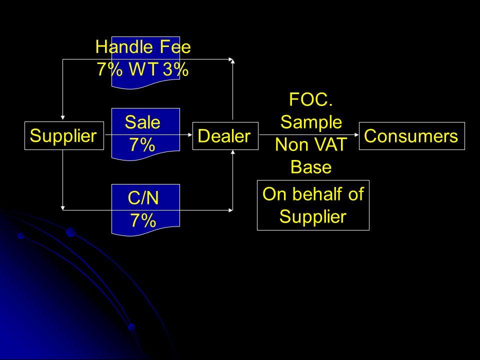 FOC. Sample Non VAT Base Supplier DealerConsumers Sale 7% C/N 7% On behalf of Supplier Handle Fee 7% WT 3%