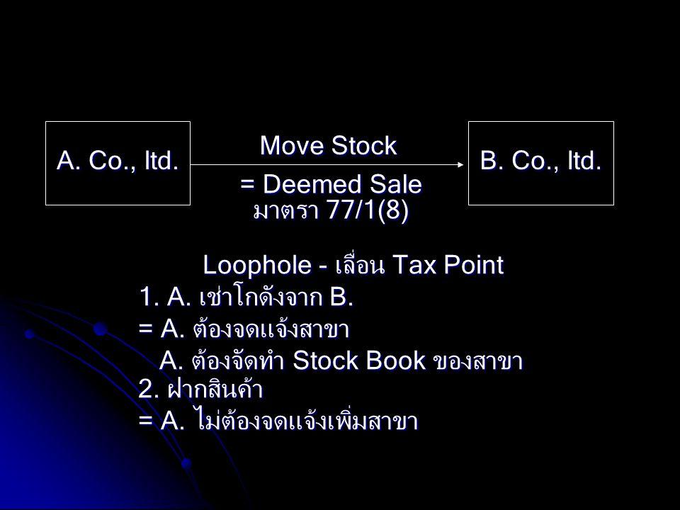 A. Co., ltd. B. Co., ltd. Move Stock = Deemed Sale มาตรา 77/1(8) Loophole - เลื่อน Tax Point 1. A. เช่าโกดังจาก B. = A. ต้องจดแจ้งสาขา A. ต้องจัดทำ St