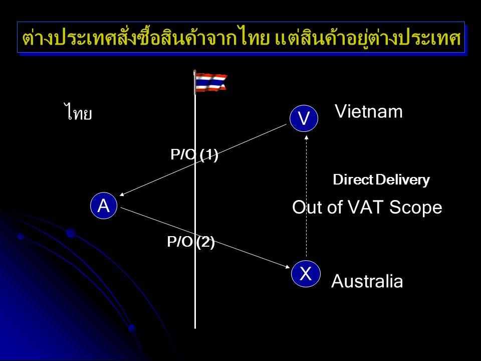 Out of VAT Scope ไทย Vietnam A V X P/O (1) P/O (2) Direct Delivery ต่างประเทศสั่งซื้อสินค้าจากไทย แต่สินค้าอยู่ต่างประเทศ Australia