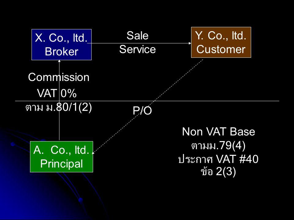 A.Co., ltd. Principal X. Co., ltd. Broker Y. Co., ltd. Customer Commission P/O Non VAT Base ตามม.79(4) ประกาศ VAT #40 ข้อ 2(3) Sale Service VAT 0% ตาม