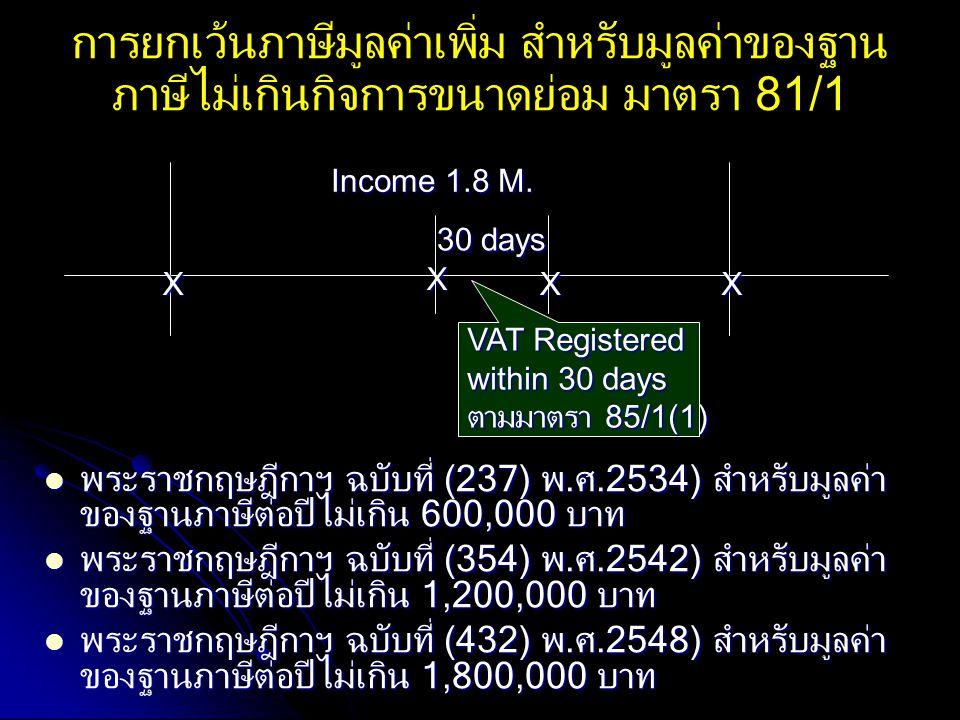 XX X Income 1.8 M. X VAT Registered within 30 days ตามมาตรา 85/1(1) 30 days การยกเว้นภาษีมูลค่าเพิ่ม สำหรับมูลค่าของฐาน ภาษีไม่เกินกิจการขนาดย่อม มาตร