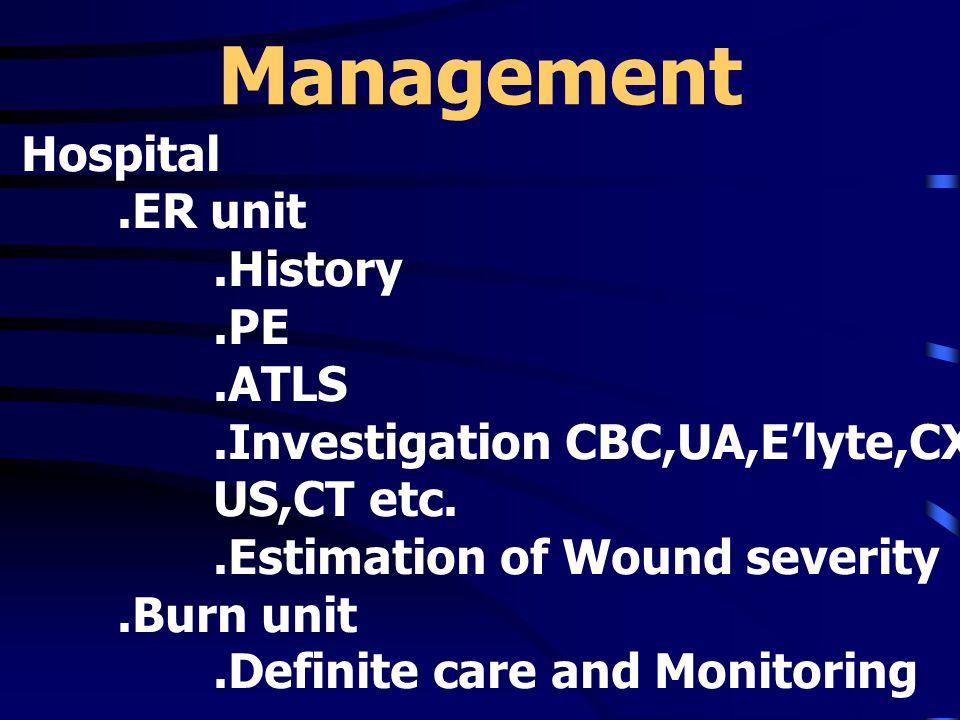 Management Hospital.ER unit.History.PE.ATLS.Investigation CBC,UA,E'lyte,CXR,Spine film,ABG US,CT etc..Estimation of Wound severity.Burn unit.Definite care and Monitoring