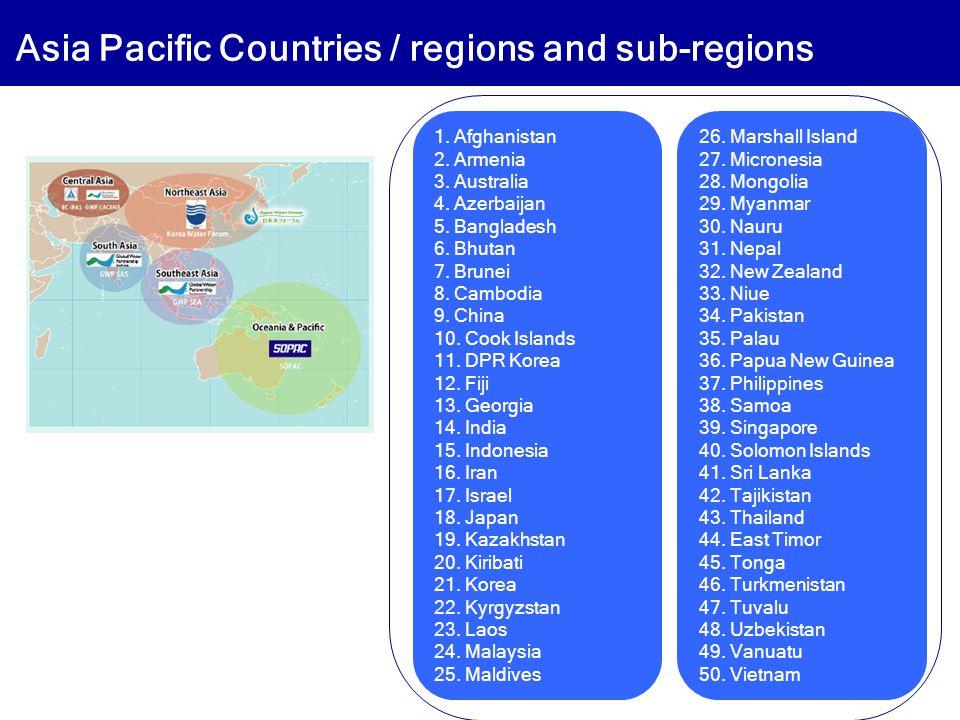1. Afghanistan 2. Armenia 3. Australia 4. Azerbaijan 5. Bangladesh 6. Bhutan 7. Brunei 8. Cambodia 9. China 10. Cook Islands 11. DPR Korea 12. Fiji 13