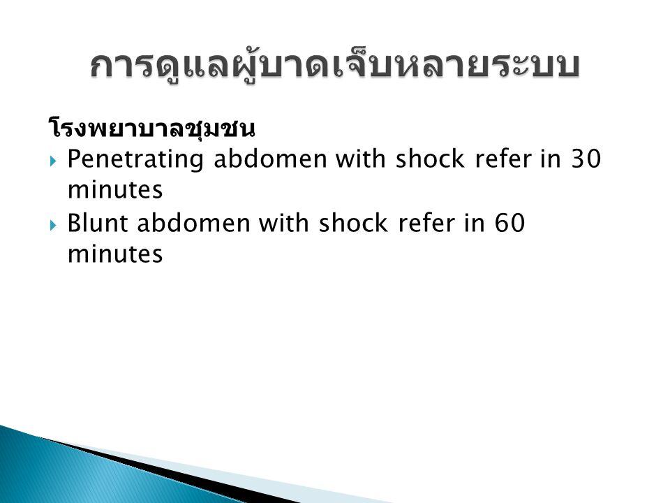 โรงพยาบาลชุมชน  Penetrating abdomen with shock refer in 30 minutes  Blunt abdomen with shock refer in 60 minutes