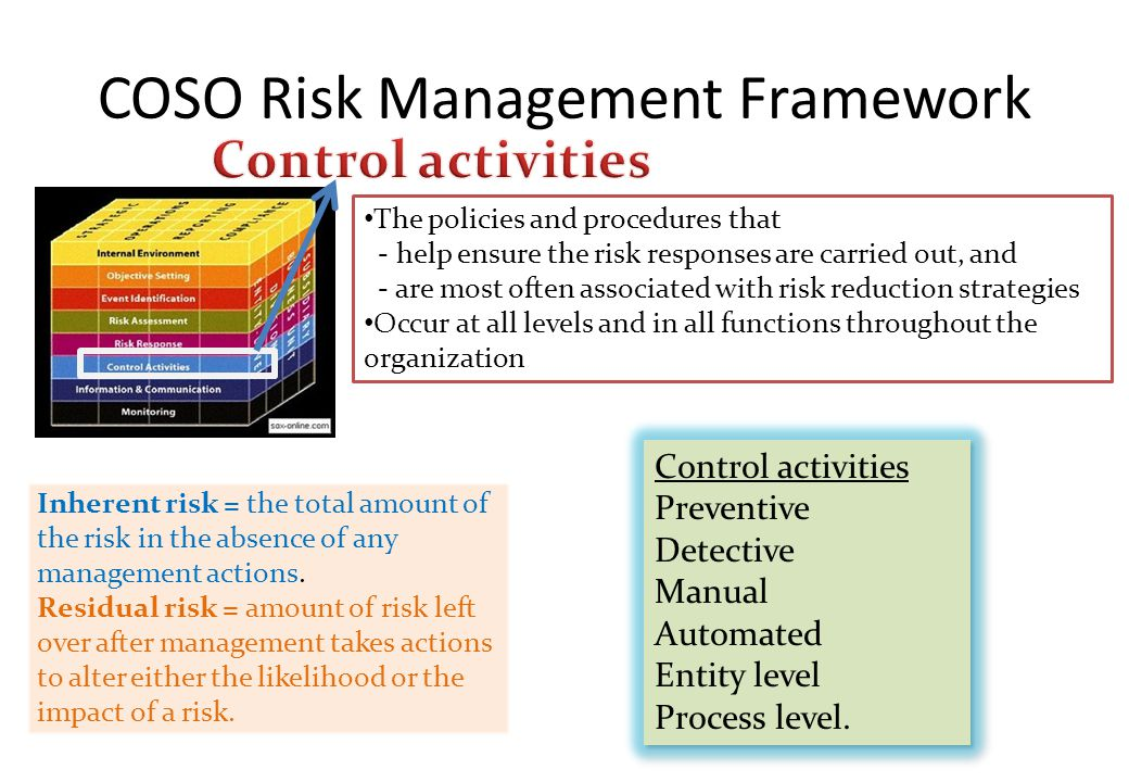 COSO Risk Management Framework Inherent risk = the total amount of the risk in the absence of any management actions. Residual risk = amount of risk l