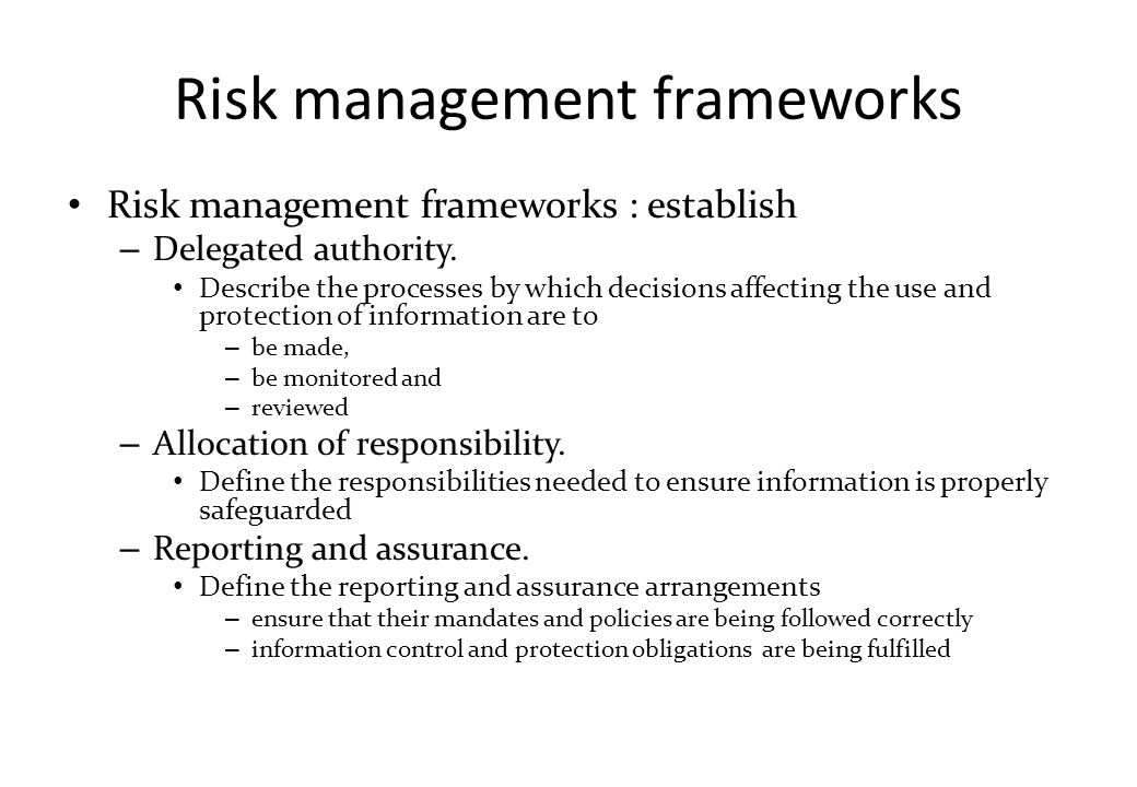 COSO Risk Management Framework Strategic objectives – กำหนดวัตถุประสงค์เชิงกลยุทธ์ ขององค์กร  เป้าหมายของการประสบความสำเร็จ Operational objectives – effective and efficient use of resources Reporting objectives – reliable internal and external reporting Compliance objectives – conformance with applicable laws and regulations