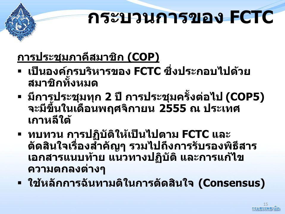 กระบวนการของ FCTC การประชุมภาคีสมาชิก (COP)  เป็นองค์กรบริหารของ FCTC ซึ่งประกอบไปด้วย สมาชิกทั้งหมด  มีการประชุมทุก 2 ปี การประชุมครั้งต่อไป (COP5)