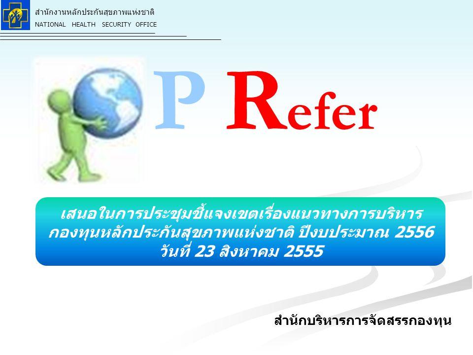 สำนักงานหลักประกันสุขภาพแห่งชาติ NATIONAL HEALTH SECURITY OFFICE กรอบแนวทางบริหารงบ งบเหมาจ่ายรายหัวประเภทบริการกรณีเฉพาะ จำนวน 262.10 บาท : ประชากร (ผู้มีสิทธิ) แบ่งเป็นประเภทบริการ ย่อย 3 รายการ ได้แก่ 1.