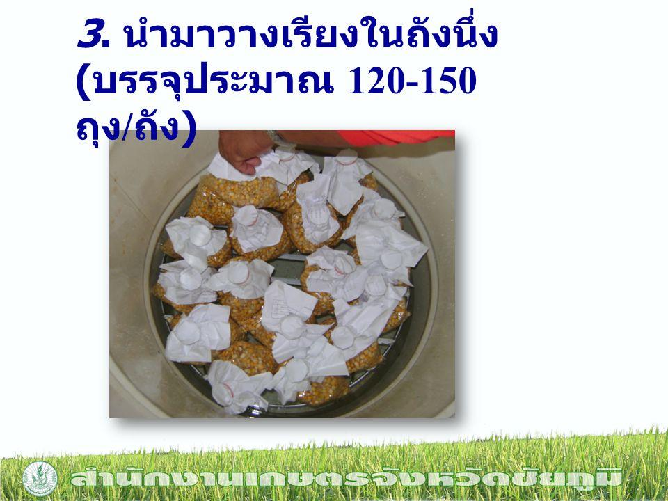 3. นำมาวางเรียงในถังนึ่ง ( บรรจุประมาณ 120-150 ถุง / ถัง )
