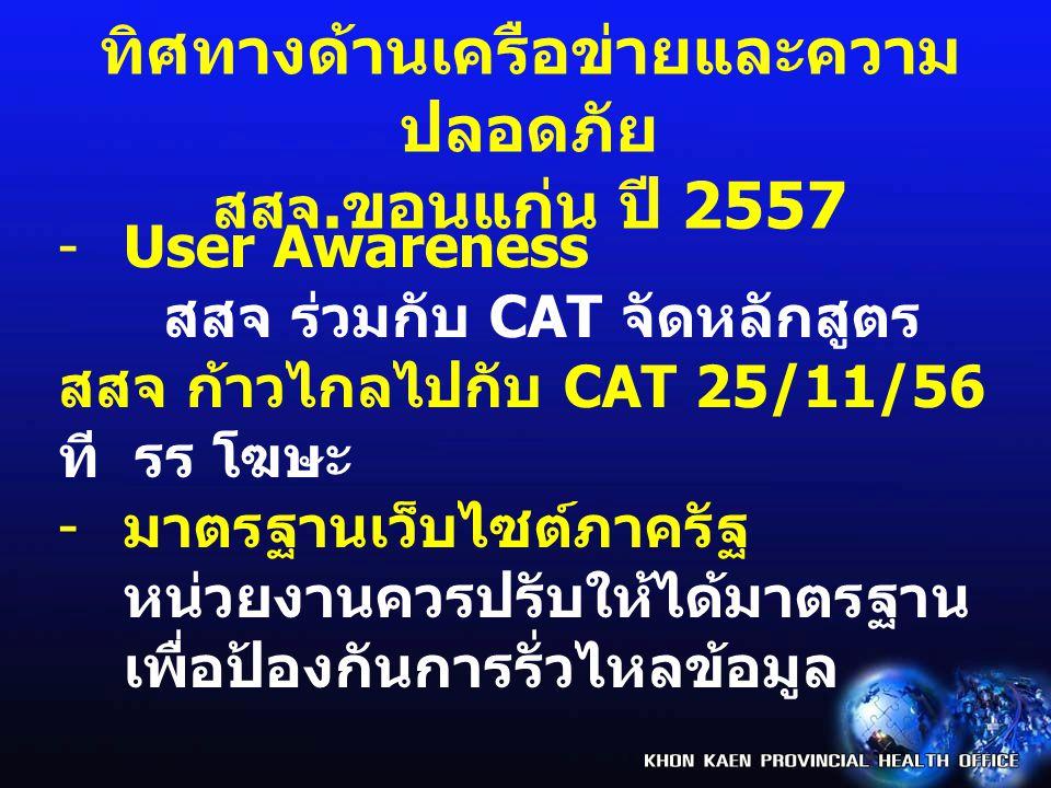 -User Awareness สสจ ร่วมกับ CAT จัดหลักสูตร สสจ ก้าวไกลไปกับ CAT 25/11/56 ที รร โฆษะ - มาตรฐานเว็บไซต์ภาครัฐ หน่วยงานควรปรับให้ได้มาตรฐาน เพื่อป้องกัน