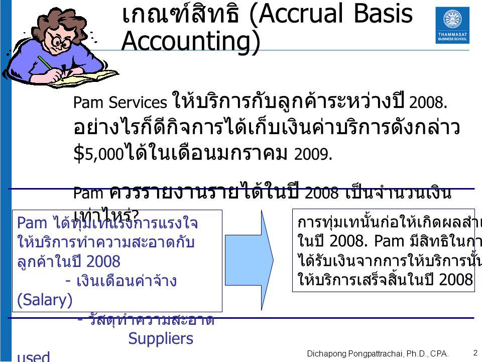 เกณฑ์สิทธิ (Accrual Basis Accounting) Pam Services ให้บริการกับลูกค้าระหว่างปี 2008. อย่างไรก็ดีกิจการได้เก็บเงินค่าบริการดังกล่าว $ 5,000 ได้ในเดือนม