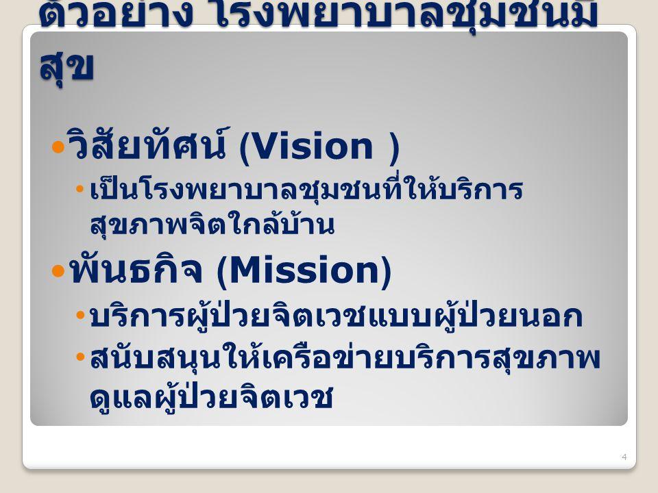 ตัวอย่าง โรงพยาบาลชุมชนมี สุข วิสัยทัศน์ (Vision ) เป็นโรงพยาบาลชุมชนที่ให้บริการ สุขภาพจิตใกล้บ้าน พันธกิจ (Mission) บริการผู้ป่วยจิตเวชแบบผู้ป่วยนอก