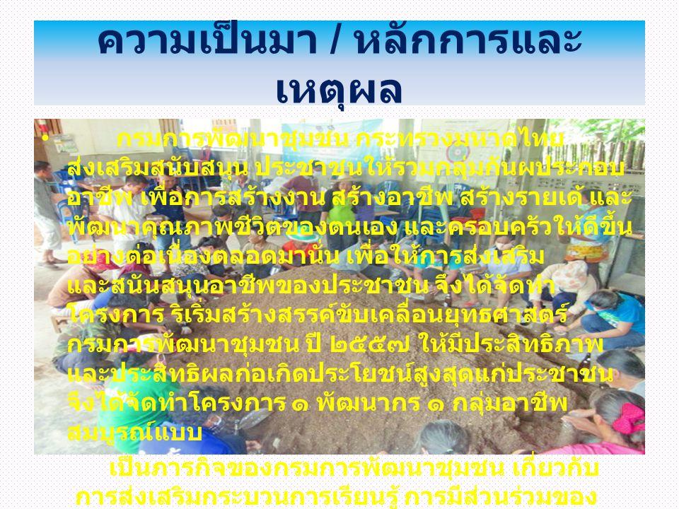 ความเป็นมา / หลักการและ เหตุผล กรมการพัฒนาชุมชน กระทรวงมหาดไทย ส่งเสริมสนับสนุน ประชาชนให้รวมกลุ่มกันผประกอบ อาชีพ เพื่อการสร้างงาน สร้างอาชีพ สร้างรา