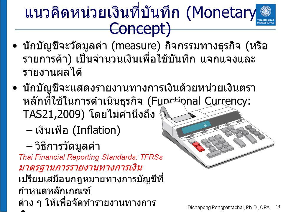 แนวคิดหน่วยเงินที่บันทึก (Monetary Concept) นักบัญชีจะวัดมูลค่า (measure) กิจกรรมทางธุรกิจ ( หรือ รายการค้า ) เป็นจำนวนเงินเพื่อใช้บันทึก แจกแจงและ รา