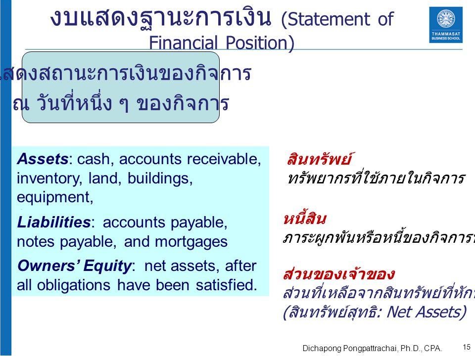 แสดงสถานะการเงินของกิจการ ณ วันที่หนึ่ง ๆ ของกิจการ งบแสดงฐานะการเงิน (Statement of Financial Position) Assets: cash, accounts receivable, inventory,