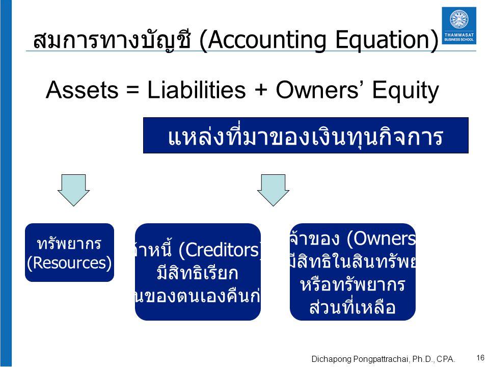 สมการทางบัญชี (Accounting Equation) Assets = Liabilities + Owners' Equity แหล่งที่มาของเงินทุนกิจการ ทรัพยากร (Resources) เจ้าหนี้ (Creditors) มีสิทธิ