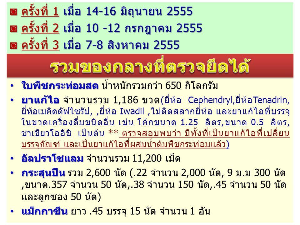 ◙ ครั้งที่ 1 เมื่อ 14-16 มิถุนายน 2555 ◙ ครั้งที่ 2 เมื่อ 10 -12 กรกฎาคม 2555 ◙ ครั้งที่ 3 เมื่อ 7-8 สิงหาคม 2555 ใบพืชกระท่อมสด ใบพืชกระท่อมสด น้ำหนั