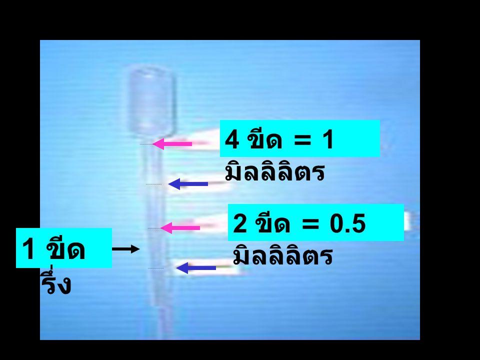 4 ขีด = 1 มิลลิลิตร 2 ขีด = 0.5 มิลลิลิตร 1 ขีด ครึ่ง