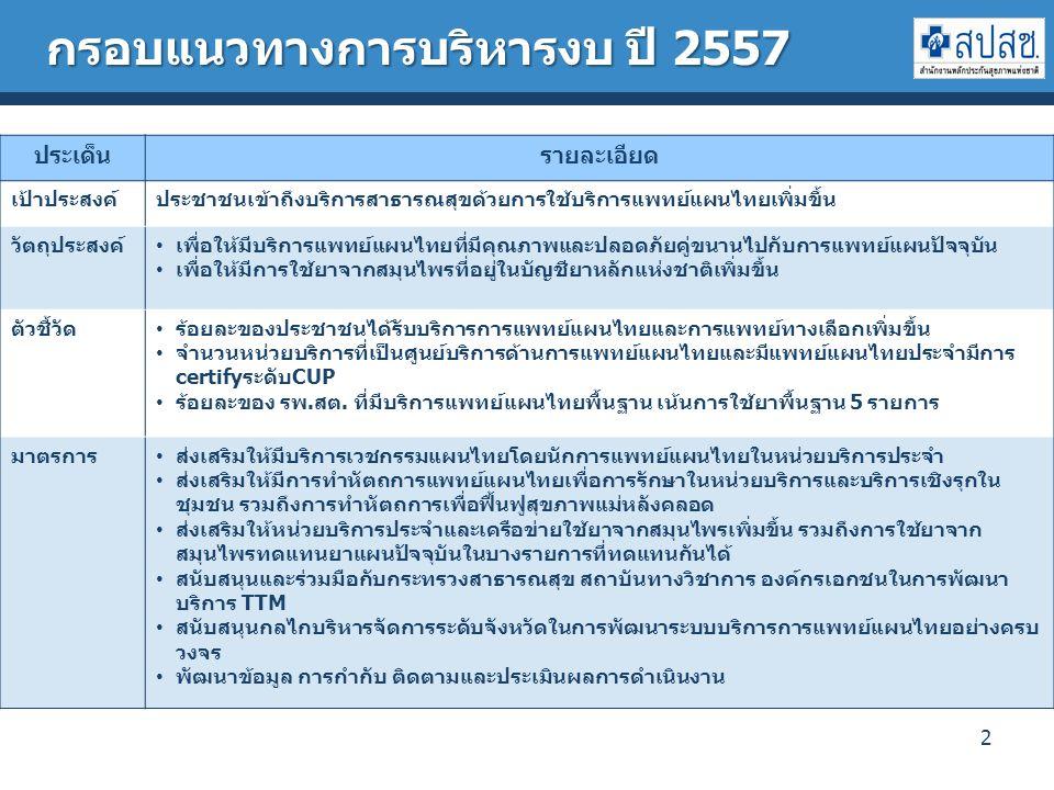 2 ประเด็นรายละเอียด เป้าประสงค์ประชาชนเข้าถึงบริการสาธารณสุขด้วยการใช้บริการแพทย์แผนไทยเพิ่มขึ้น วัตถุประสงค์ เพื่อให้มีบริการแพทย์แผนไทยที่มีคุณภาพและปลอดภัยคู่ขนานไปกับการแพทย์แผนปัจจุบัน เพื่อให้มีการใช้ยาจากสมุนไพรที่อยู่ในบัญชียาหลักแห่งชาติเพิ่มขึ้น ตัวชี้วัด ร้อยละของประชาชนได้รับบริการการแพทย์แผนไทยและการแพทย์ทางเลือกเพิ่มขึ้น จำนวนหน่วยบริการที่เป็นศูนย์บริการด้านการแพทย์แผนไทยและมีแพทย์แผนไทยประจำมีการ certifyระดับCUP ร้อยละของ รพ.สต.