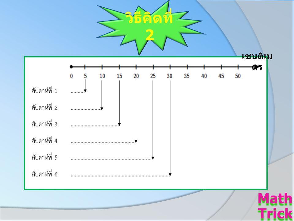 วิธีคิดที่ 2 Math Trick Math Trick เซนติเม ตร
