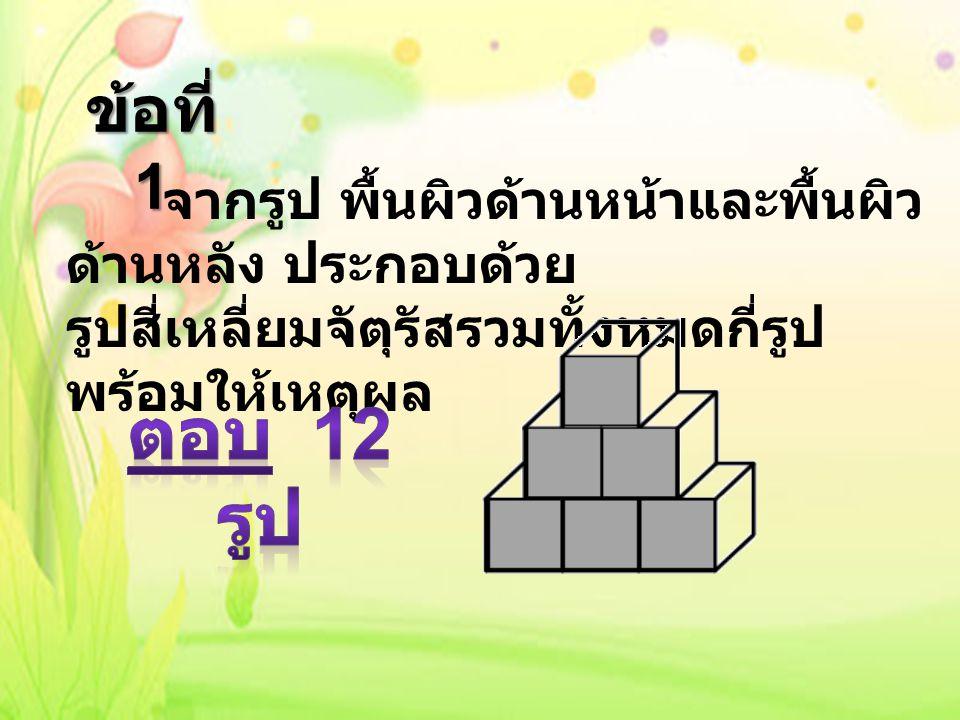 6 + 6 = 12 วิธีการหา คำตอบแบบที่ 1 จำนวนผิว ด้านหน้า ของรูป สี่เหลี่ยม จัตุรัส จำนวนผิว ด้านหลัง ของรูป สี่เหลี่ยม จัตุรัส การหาคำตอบวิธีที่ 1 ใช้วิธีการนับ จำนวนผิวของรูปสี่เหลี่ยมจัตุรัส ทั้งสองด้าน แล้วนำมา รวมกัน จึงได้ผลลัพธ์ ดังกล่าว