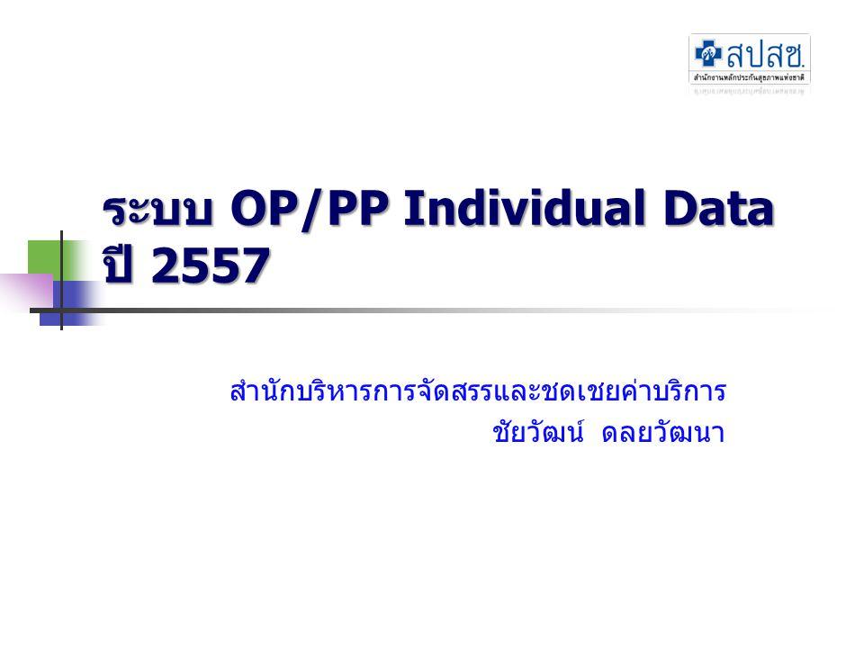 Topic การใช้งานเว็บไซต์ OP/PP Individual มาตรฐานโครงสร้างแฟ้มข้อมูลปี 2557 รูปแบบและเงื่อนไขการรับส่งข้อมูล ปี 2557 การประมวลผล/คิดคะแนน การตรวจสอบข้อมูล (audit) สรุป