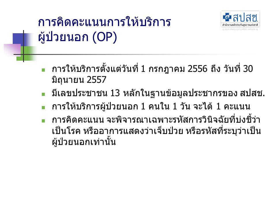การคิดคะแนนการให้บริการ ผู้ป่วยนอก (OP) การให้บริการตั้งแต่วันที่ 1 กรกฎาคม 2556 ถึง วันที่ 30 มิถุนายน 2557 มีเลขประชาชน 13 หลักในฐานข้อมูลประชากรของ