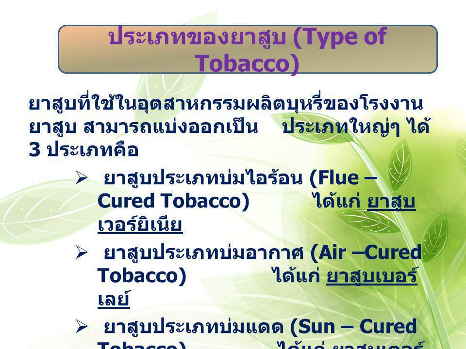 ยาสูบที่ใช้ในอุตสาหกรรมผลิตบุหรี่ของโรงงาน ยาสูบ สามารถแบ่งออกเป็น ประเภทใหญ่ๆ ได้ 3 ประเภทคือ  ยาสูบประเภทบ่มไอร้อน (Flue – Cured Tobacco) ได้แก่ ยา